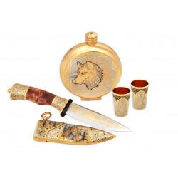 Набор охотничий (фляжка,2 стопки,нож Фокс-1)