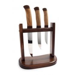 Ножи кухонные - темный орех (большой,средний,малый нож - орех+ подставка дерево)