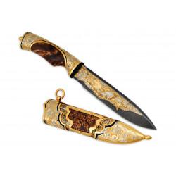Нож Fox-2 украшенный (дамаск)